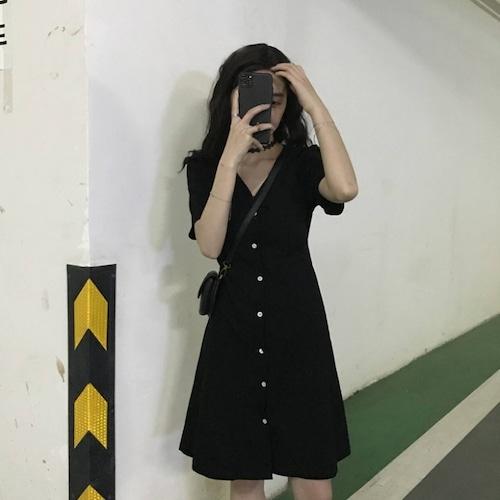 シャツワンピース Vネック シングルブレスト 韓国ファッション レディース ワンピース シャツ ハイウエスト Aライン 膝丈 シンプル ガーリー