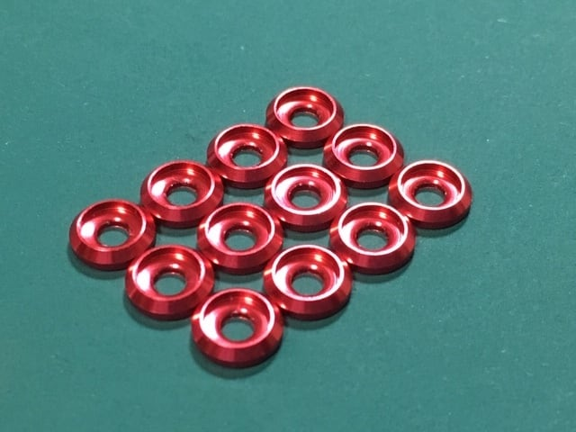 ◆M3キャップボルト用 カラーアルミワッシャー  12個セット  カラー / 深レッド