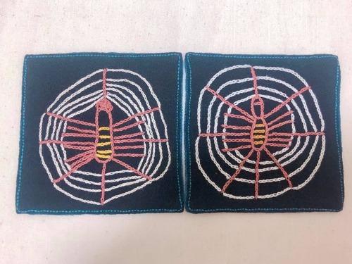 レンテン族 刺繍コースター くも