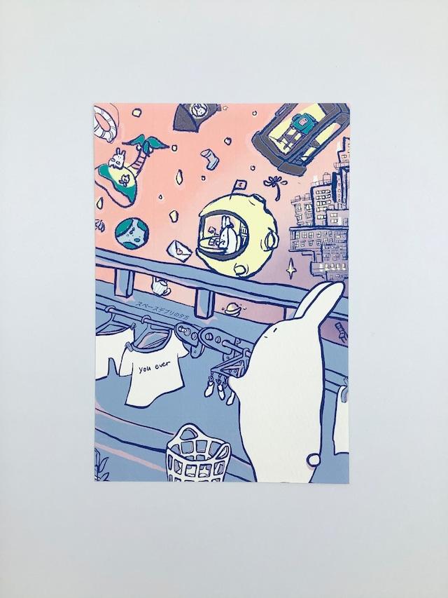usagi ポストカード「スペースデブリの夕方」