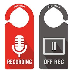 RECODING(レコーディング中)裏面OFF REC[1055] 【全国送料無料】 ドアサイン ドアノブプレート