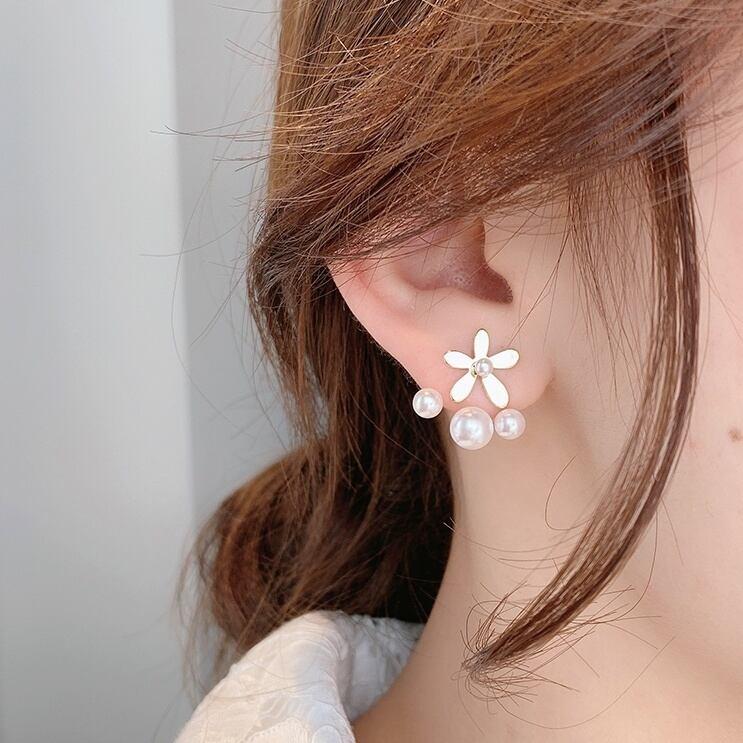 花と真珠のピアス   1-443