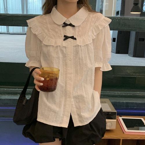 【★送料無料★】ブラウス フリル リボン 韓国ファッション レディース トップス シャツ 半袖 ゆったり 大人可愛い ガーリー DTC-620294644487