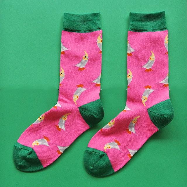 《鳥/インコ》靴下 オカメインコ 23〜25cm KAKUKAKU×Miita TINY ピンク