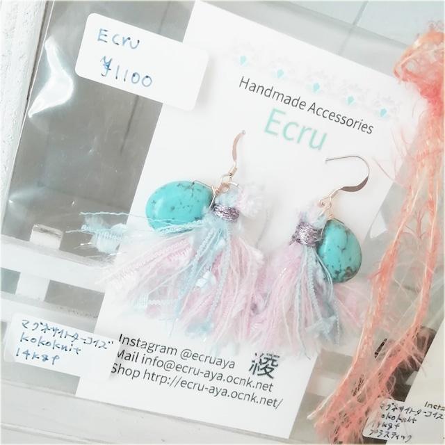 Handmade Accessories Ecru: ターコイズとタッセルのピアス ピンク