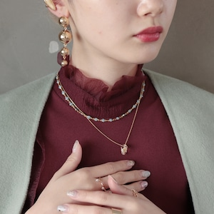 NECKLACE || 【通常商品】 NECKLACE SET 5(dot+stone blue) || 2 NECKLACES || GOLD || FNSAL1205E