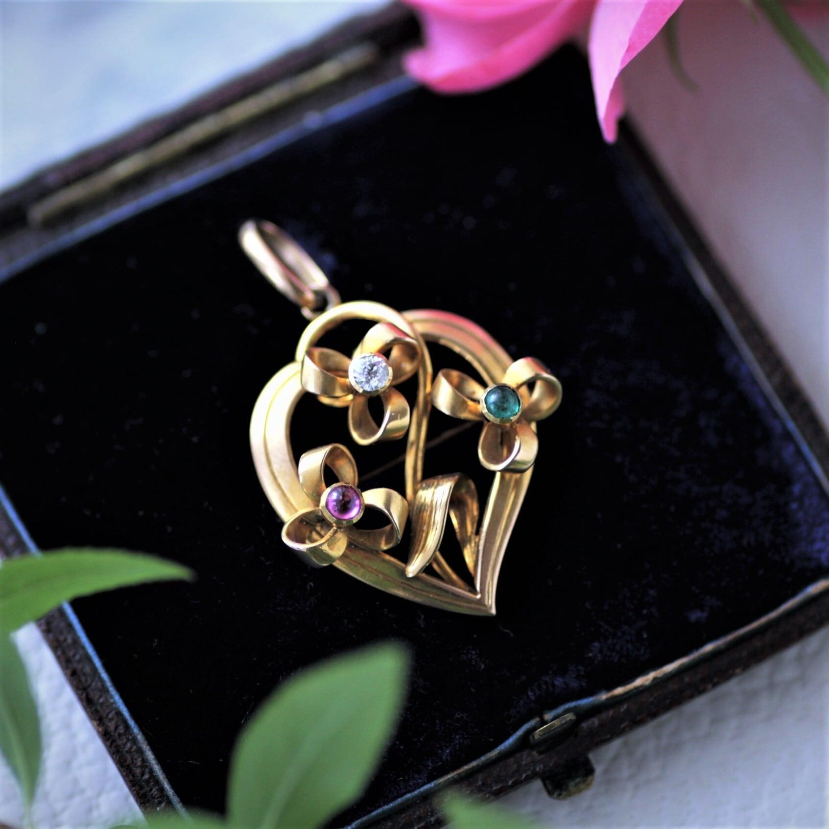 Diamond,Ruby & Emerald Gold Flower Pendant/Brooch  ダイヤモンド、ルビー & エメラルド ゴールド ペンダント・フラワーブローチ