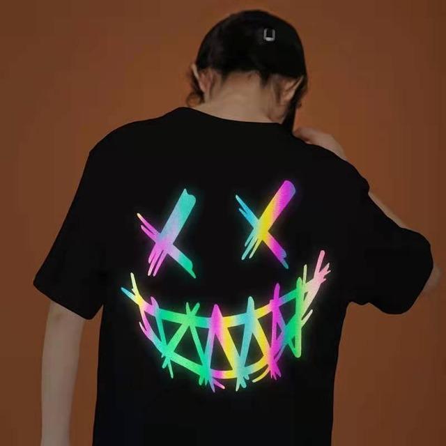 【トップス】ストリートプリント反射光Tシャツ47232621
