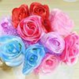 姫系雑貨 薔薇付きボールペン【赤、青、紫、赤紫、桃】