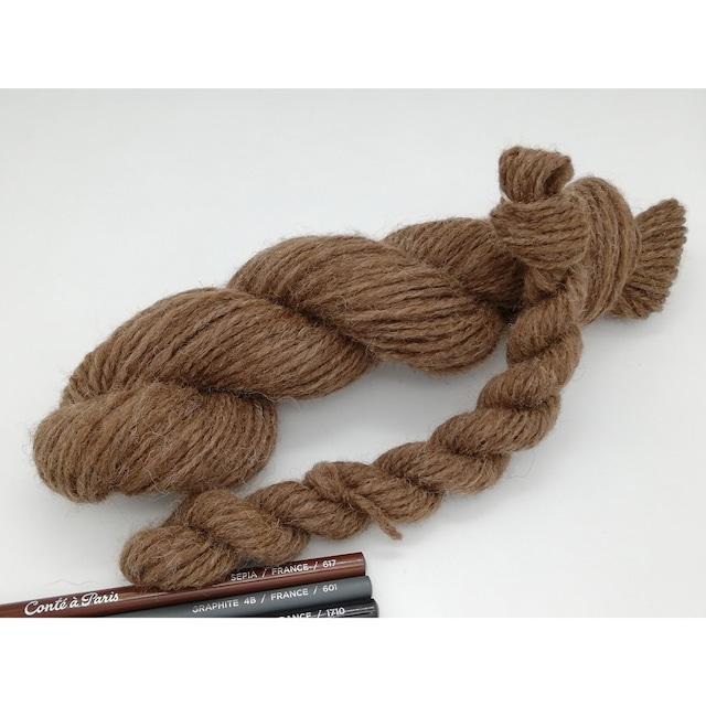 Rueca 紡ぎ糸 シェットランド羊100% ナチュラルカラー/モカ 双糸/紡毛糸/S撚り No.4-2 重さ:10g 長さ:18m