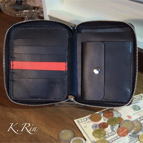 【受注制作可】カードたっぷり!ラウンドファスナーの2つ折り財布 (KA081b2)