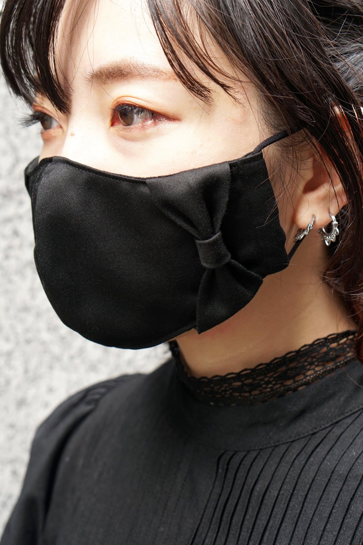 【セール】横顔美人!立体リボンマスク/ブラック+共布リボン