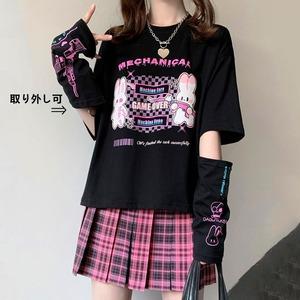 【トップス】半袖/長袖変換可能キュートストリート系シンプルTシャツ