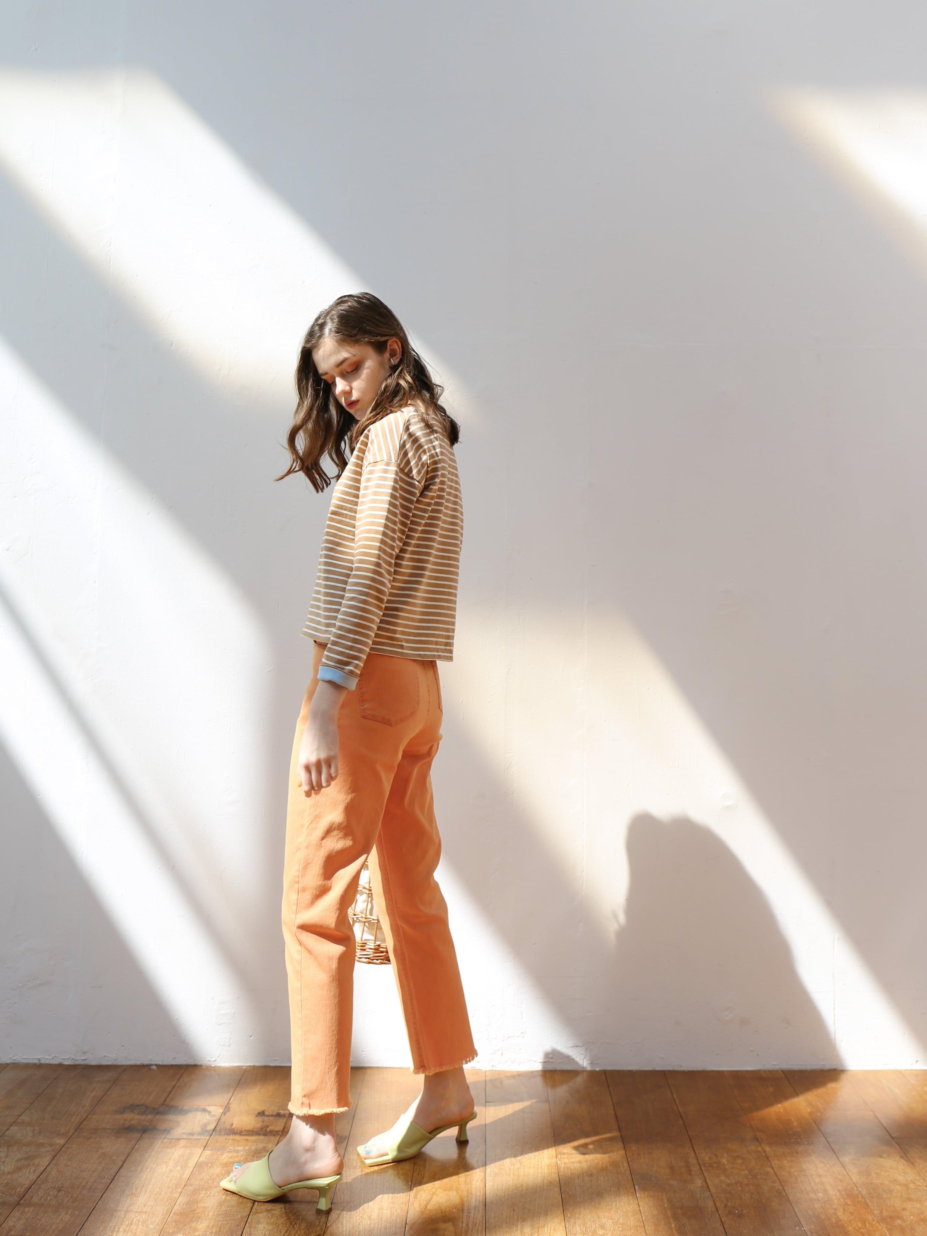 cutoff tapered denim(orange)
