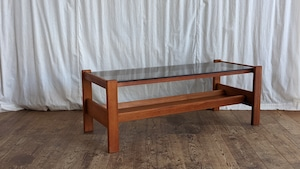 Vintage Teak Coffee Table with Glass Top
