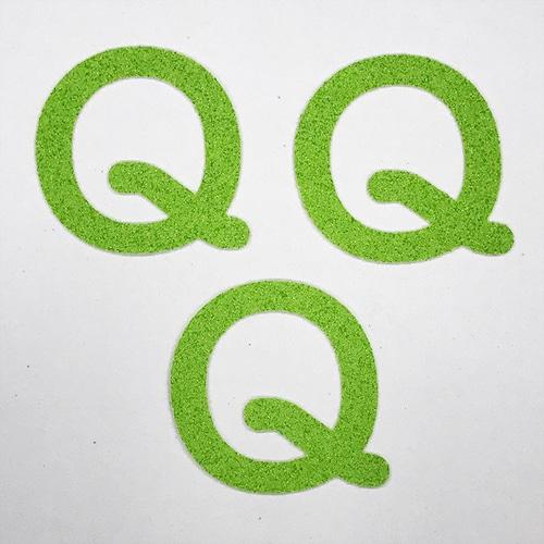 切り文字 A&Cペーパー パルプロックPBR‐006(グリーン) 粘着付 ローマ字「Q」