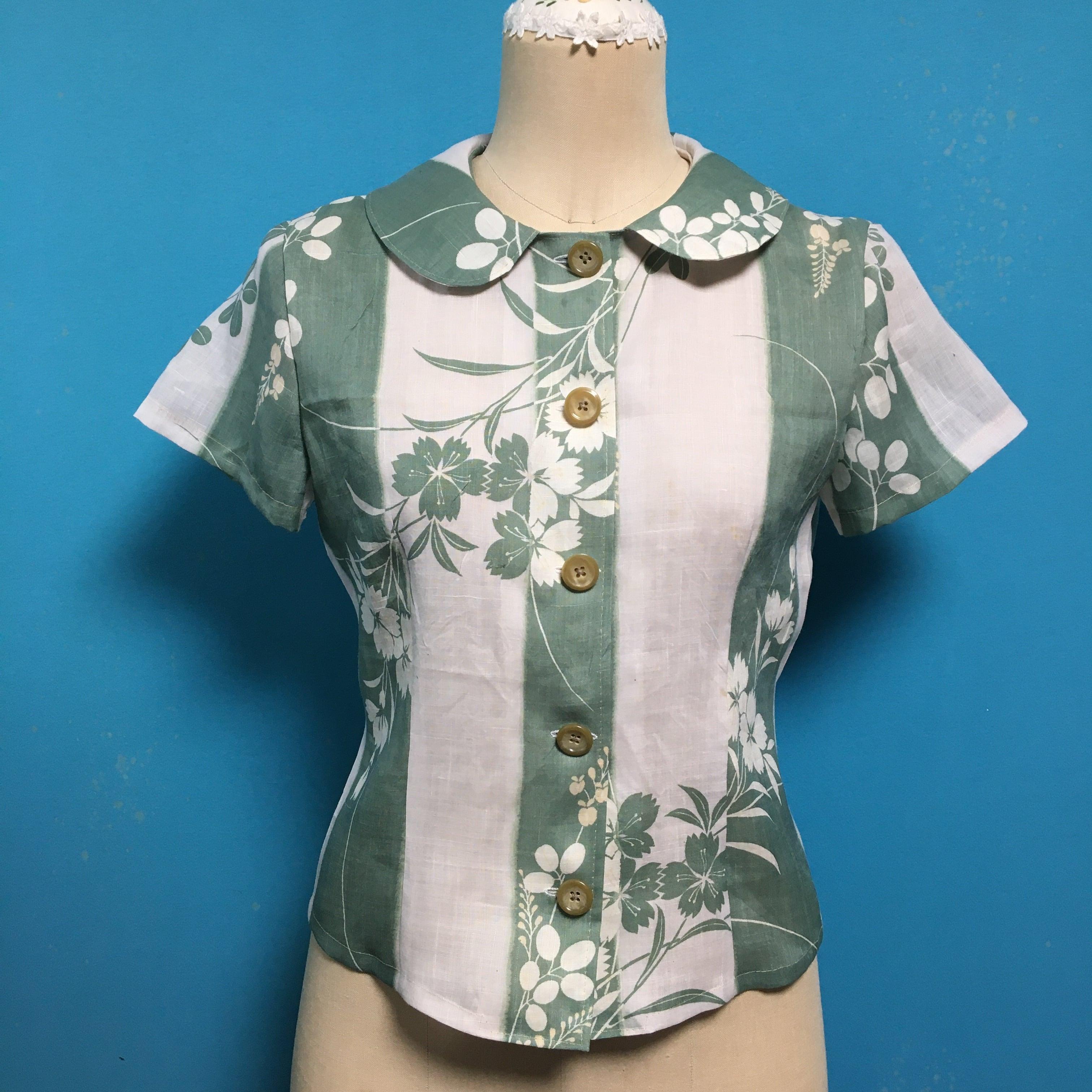 Vintage 麻の着物 丸襟ブラウス