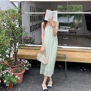 森の匂いするシフォン小花柄プリントキャミワンピース LXZKL880026
