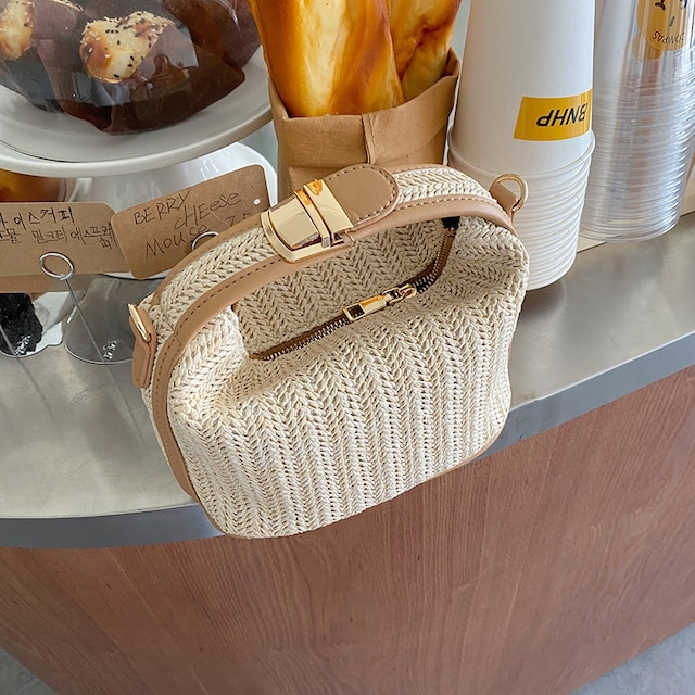 Square Straw Mini Crossbody Bag