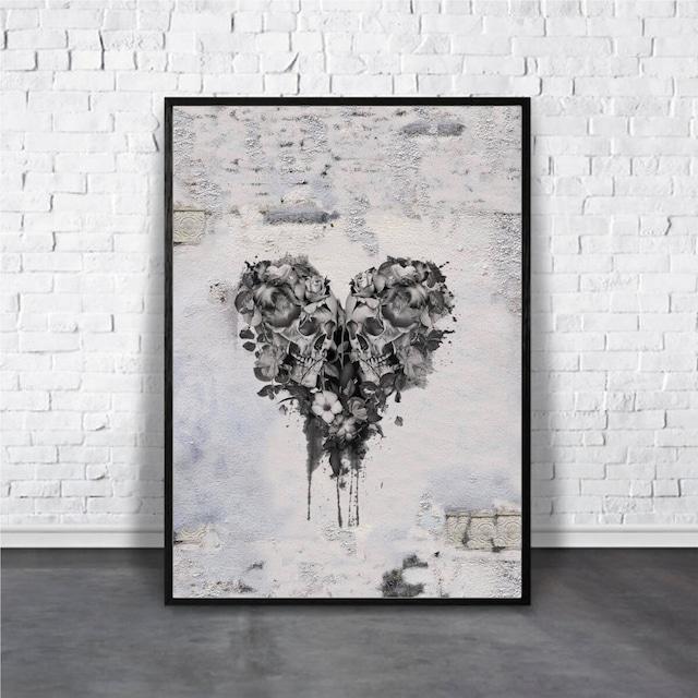 Skull Heart【アートポスター専門店 Aroma of Paris】[AP-000377]