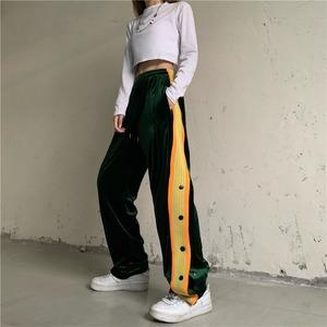 【ボトムス】ファッションハイウエストレギュラー丈カジュアルパンツ52631798