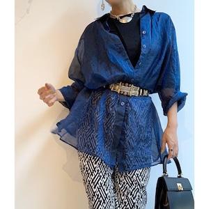 Vintage メタリックオーガンジーシャツ ブルー