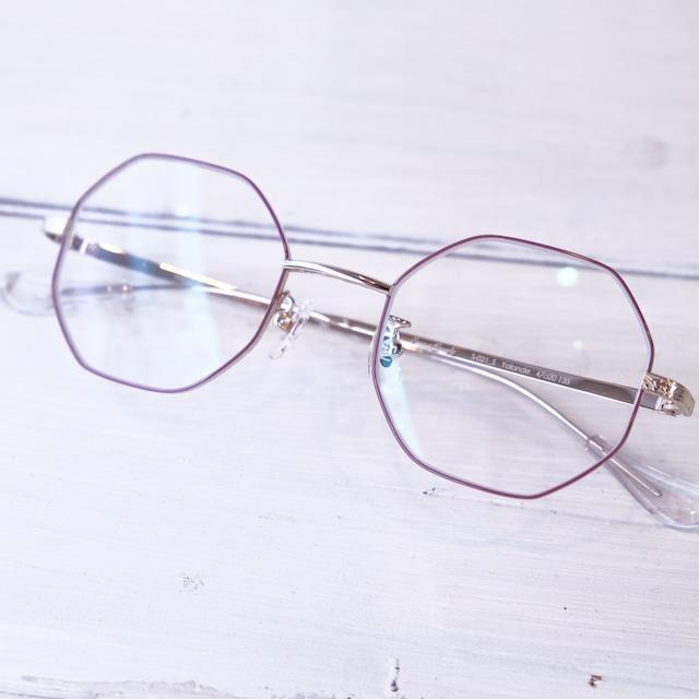 Seacret Remedy シークレットレメディ メガネ オクタゴン S-021s / Purple brownyWhite gold