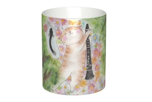 クラリネット猫のマグカップ(ウナギ)