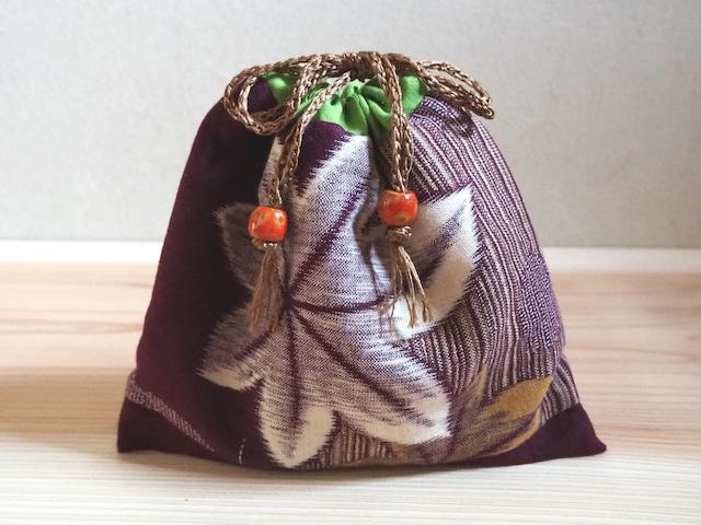秋色紅葉の巾着・選べる横長or縦長サイズ-着物地(古布)から