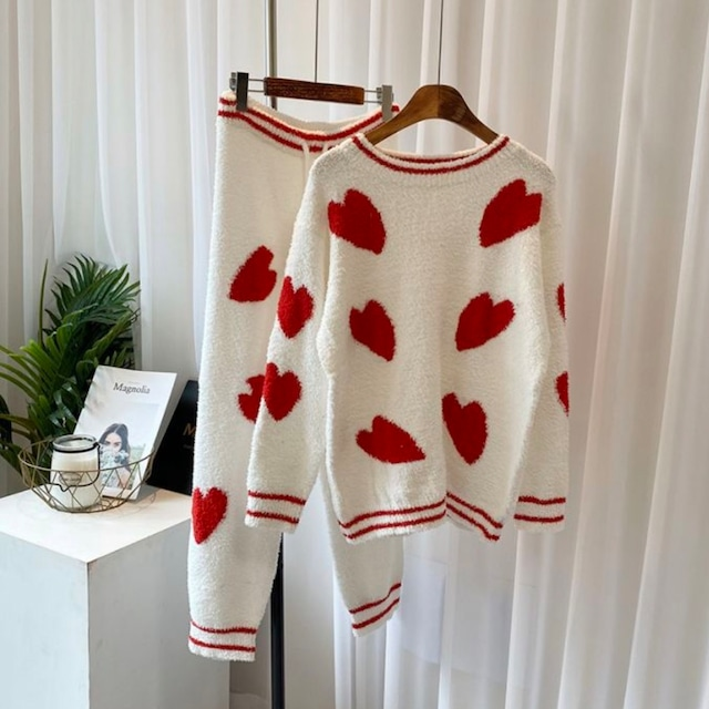【PURPLE:即納】ハート柄もこもこパジャマ