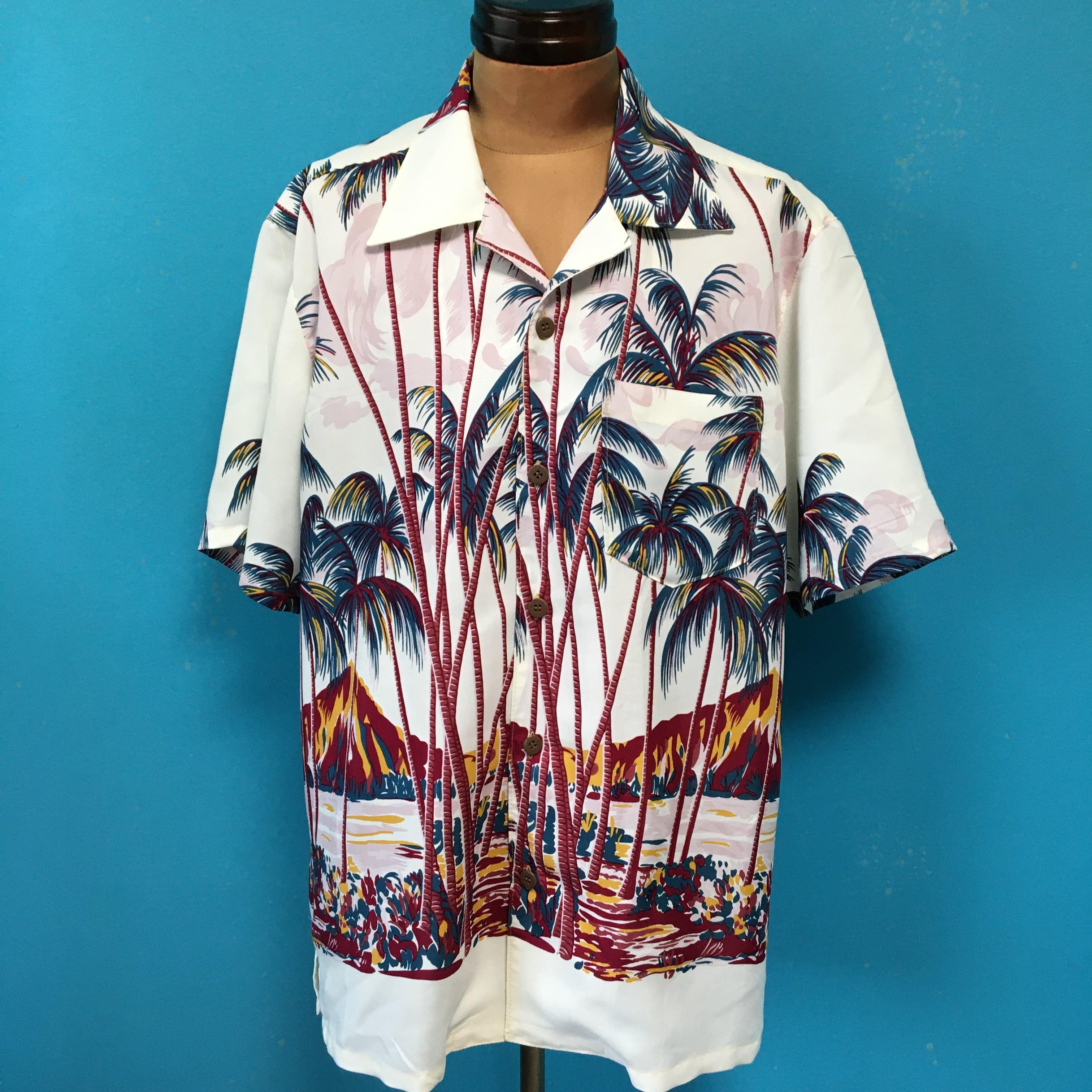 アイランドプリントのアロハシャツ 綿 US L