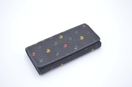 多色刷印傳 中L型長財布 三色蝶柄