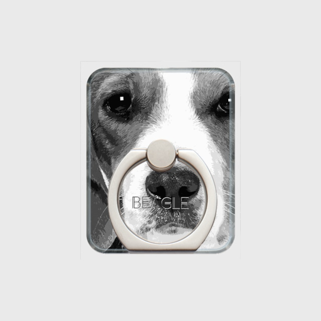 ビーグル おしゃれな犬スマホリング【IMPACT -shirokuro- 】