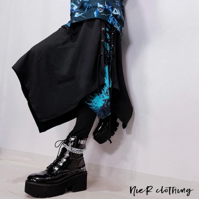変則フラップスカート付きBRAID PANTS【彼岸花(ターコイズブルー)】