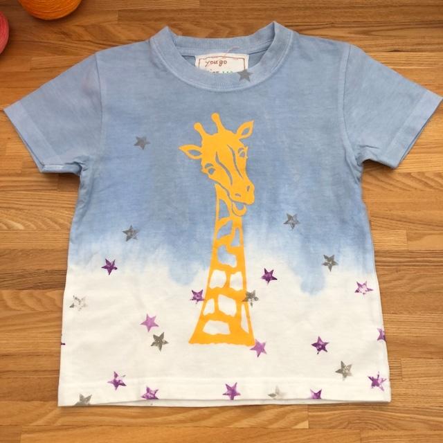 受注制作 kidsTシャツ「アフリカンキリン 段染め星」80cm~140対応