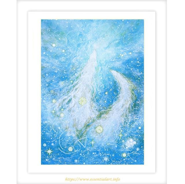 キラキラ光る 龍神の絵画 水龍神