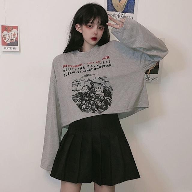 【トップス】韓国系ショート丈プリントコットンTシャツ43011054