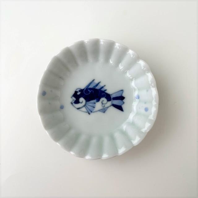 【おてしょ皿】染魚 丸菊花手塩皿