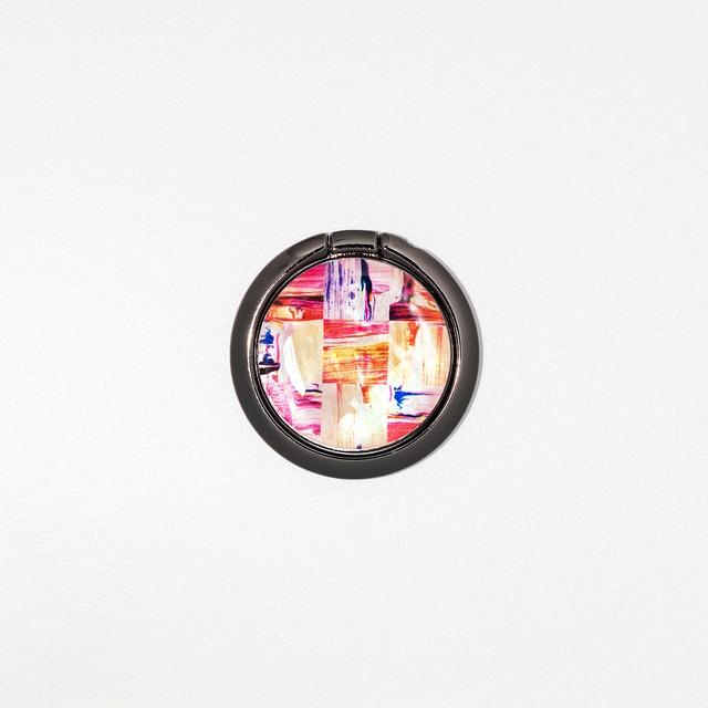 天然貝シェル★ミネラルピンク(スマホリング・バンカーリング)|螺鈿アート|360度回転