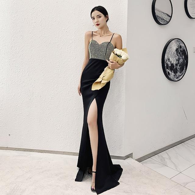 パーティードレス ロングドレス 成人式 演奏会 発表会 二次会 プレゼント XS S M L LL 3L 気質良い レトロ スリム セクシー ジャンパースカート ノースリーブ ラインストーン ブラック 黒い