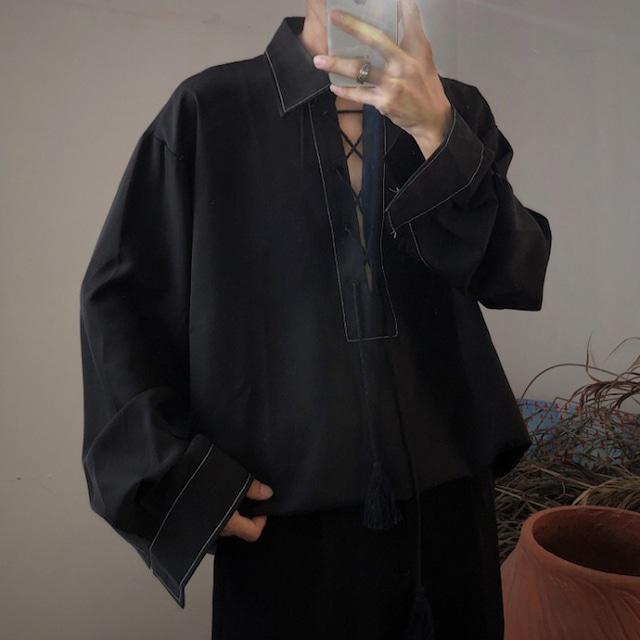 【Mapogo シリーズ】★レトロ シャツ★ トップス 原宿風 スチームパンク M L XL ブラック 黒い ゆったり