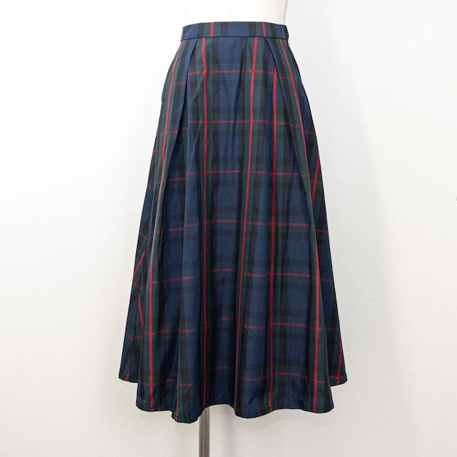 【QTUME/クチューム】クロスタックチェックタフタスカート(ネイビー)