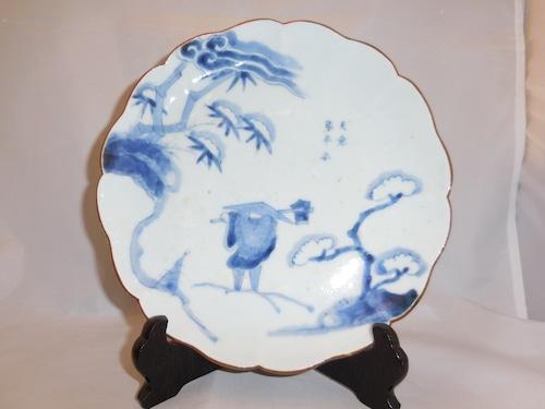 伊万里染付竹の子堀図皿 Imari blue &white porcelain plate(bamboo shoot)