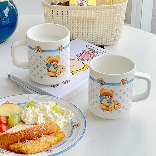 retro teddy bear mug 300ml / レトロ テディーベア マグカップ コップ 食器 韓国 雑貨