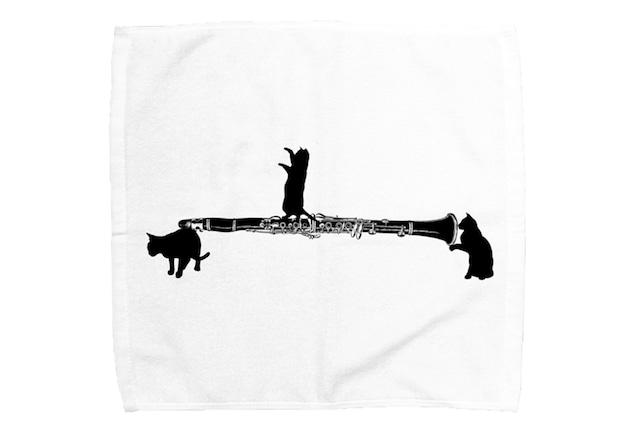【即日出荷用】クラリネットと黒猫のミニタオル