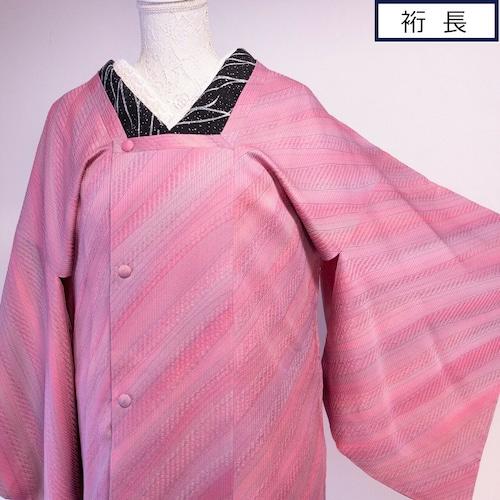 【裄長&ちょいロング丈】美品! 道行コートゆらぎ縞 ふくれ織 ピンクから藤色の絶妙グラデ