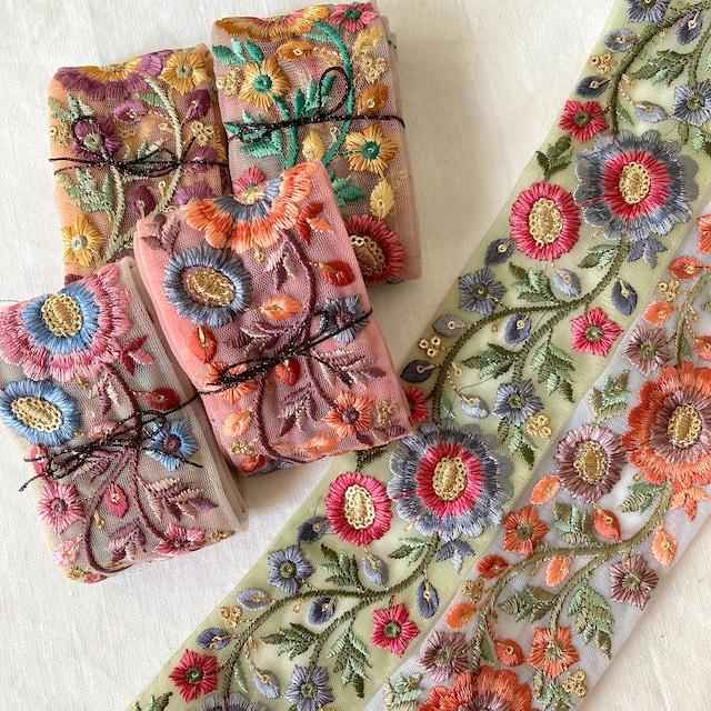 〈再入荷〉カラフルチュール花刺繍スパンコールリボン