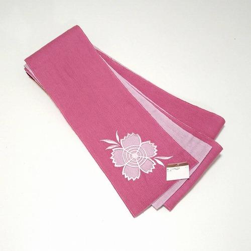 ★ 半巾帯 麻 夏帯 花 ピンク 両面 ★縁ちゃぶ c028