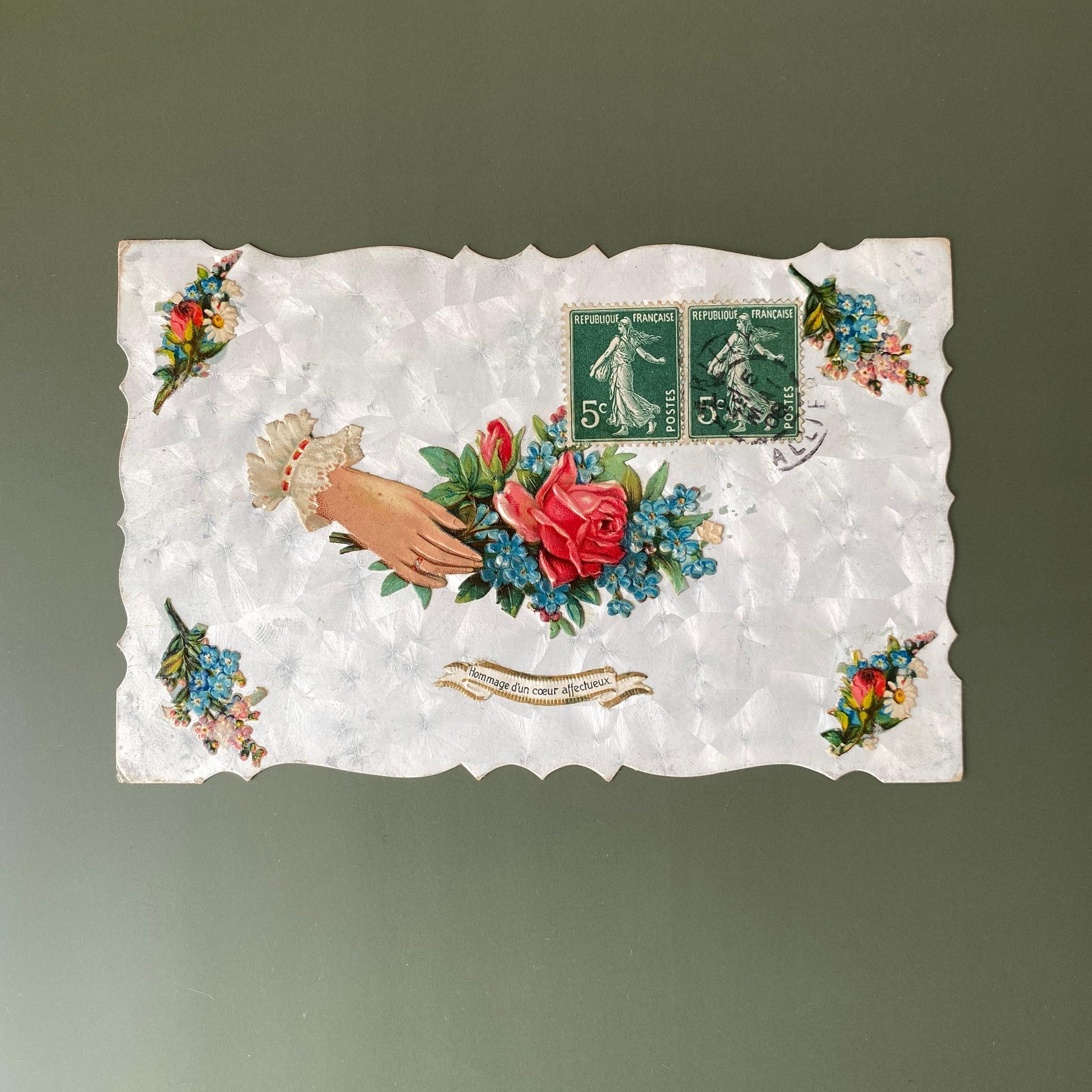 アンティーク薔薇のポストカード・d /  vp0140