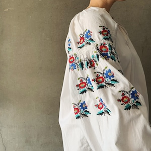 Antique Ukrainian embroidered linen smock (06-21-15)